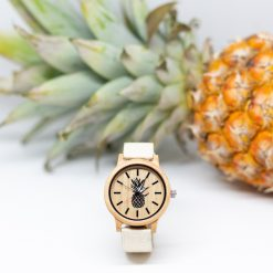 Montre Vegan Limited Edition 1 Bois d'Erable et Blanc Naturel Pinatex vue en face