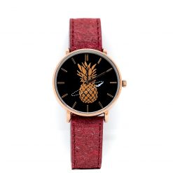 Montre Vegan Another Edition 2 Acier Or Rose et Framboise Pinatex vue de face