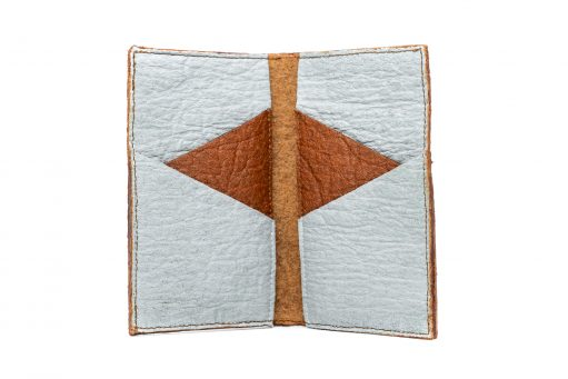 Maïa vue ouvert Porte cartes double Cannelle & Gris Galet Pinatex made in France