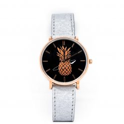 Montre Vegan Another Edition 2 Acier Or Rose et Argentika Pinatex vue de face