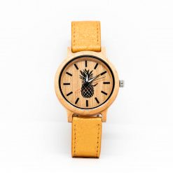 Montre Vegan Limited Edition 2 Bois d'Erable et Or Antika Pinatex vue de face